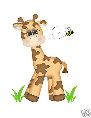 Safari Giraffe Wall Mural Decals Baby Girl Boy Nursery Jungle Animals Stickers