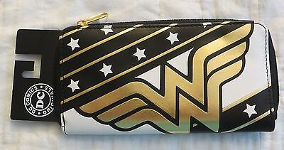 Dc Comics Wonder Woman Zip Around Wallet New Black White Gold