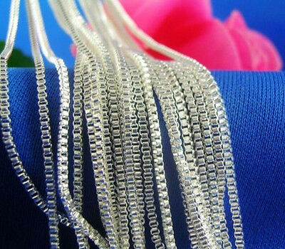 "Newly Wholesale Lots 5pcs 925 Sterling Silver 1.4mm Box Chain Necklace 16""-24"""