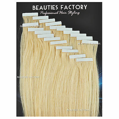 Super Tape in Skin Weft Remy Human Hair Extensions #60 Platinum Blonde (Hair518)