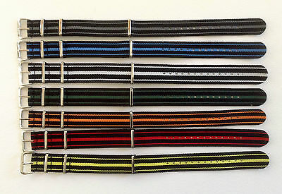 Nato/G10/Mod Military Style Nylon Watch Strap - Three Stripes Various Colours