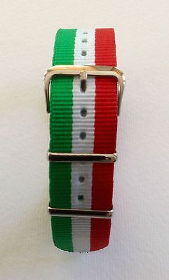 Italy Flag - Nato/G10/Mod Military Style Nylon Watch Strap - 18/20 And 22Mm