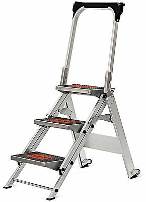 Little Giant 10310B A Jumbo Aluminum 3 Step Safety Step Stool /Stepladder w/Tray
