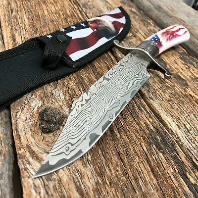 """12"""" Collector Bowie Hunting Knife W/Deer Scene on Blade IMT STAG With Sheath"""