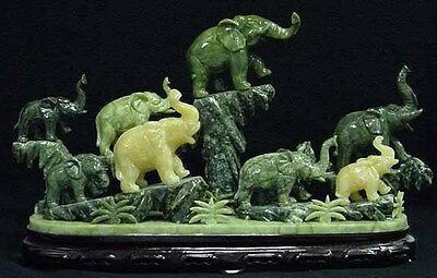 Factory Sale: Large Jade 8 Elephants Mountain (J145)