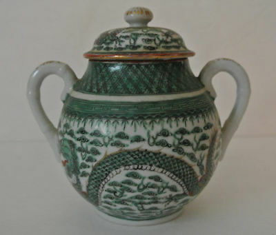 Old CHINESE Hand Painted China 5 Claw GREEN DRAGON PEARL OF WISDOM Motif JAR POT