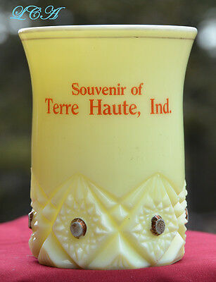 Antique CUSTARD glass TERRE HAUTE INDIANA souvenir cup over a CENTURY old