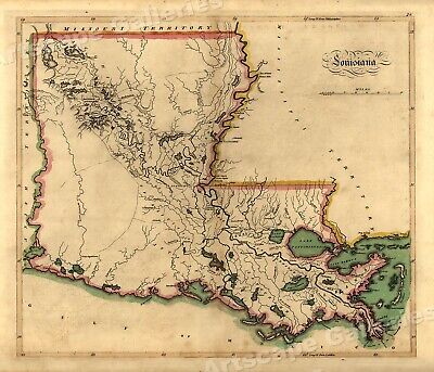 1814 State of Louisiana Historic Vintage Style Wall Map - 24x28