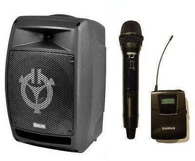 Chiayo StagePro 200 Watts portable pa 2 wireless microphones, CD MP3 player