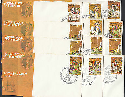 Stamps Australia Captain Cook set of 12 commemorative covers & postmarks