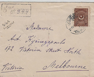 Stamp Turkey on cover Pera Taxim Constantinople to Australia via Egypt backstamp