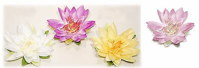 "8"" Artificial Floating Water Lily Lotus Pond Flowers White Yellow Purple Pink"