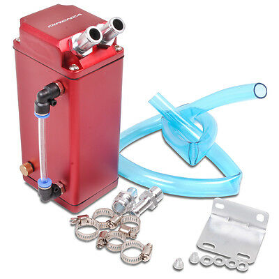 Direnza Universal Aluminium Oil Catch Reservoir Tank Can Breather Square Red