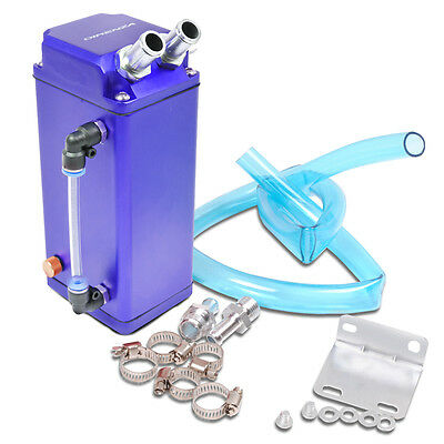Direnza Universal Aluminium Oil Catch Tank Resevouir Tank Breather Square Blue