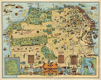 San Francisco 1927 Odd Historic Map - 16x20