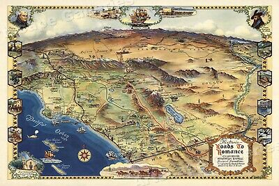 1946 Roads to Romance Southern California Old Map - 16x24