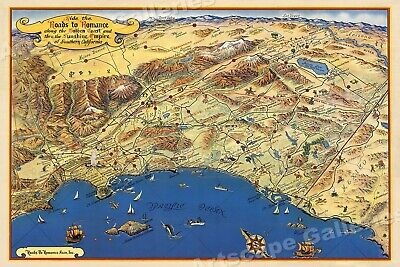 1953 Roads to Romance California Pictorial Map - 20x30