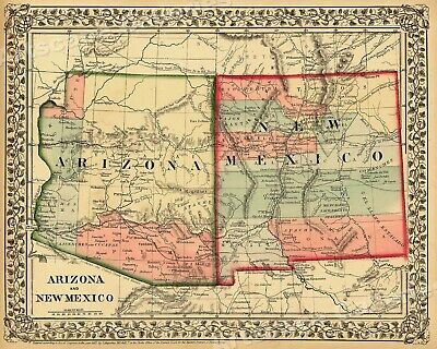 1867 Arizona New Mexico Historic Wagon Route Map - 24x30