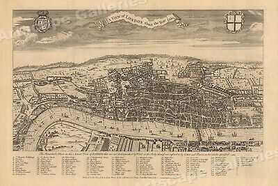 London 1560 Historic Old City View Map - 16x24