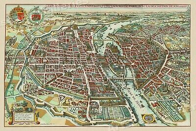 1615 Map of Paris France Historic Old Map - 16x24