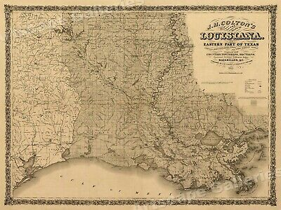 1860's Map of Lousiana & Eastern Texas Vintage Map - 24x32