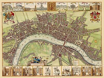 London 1680's Interesting Historic Old City Map - 24x32