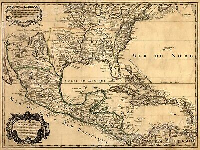 North America 1703 Historic Spanish Territory Vintage Style Map - 18x24
