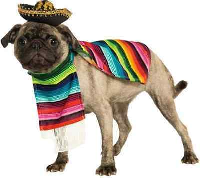 Poncho Mexican Serape Wrap Striped Fancy Dress Halloween Pet Dog Cat Costume