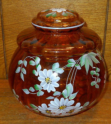 Vintage Amber Glass Handpainted Biscuit Jar