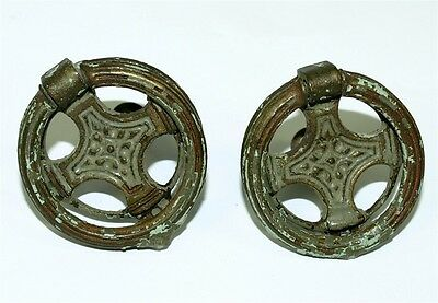 2 Vintage Brass Ring Drawer Pulls  N200