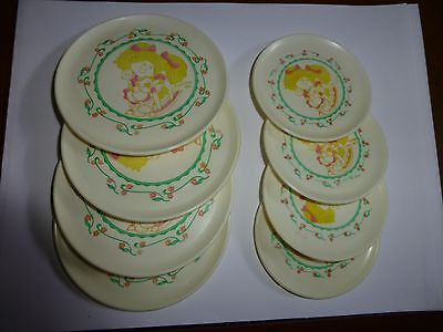 8 Vintage Collectible Cabbage Patch Kids Plastic Play House Plates 2 sizes