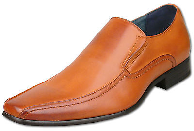 Mens New Tan Leather Lined Slip On Formal Dress Shoes Size 6 7 8 9 10 11 12 13