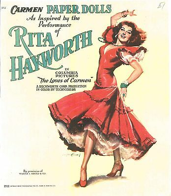Vintge 1940S Rita As Carmen Hayworth Paper Doll ~Laser Reproduction~Org Sz Uncut