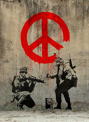 """BANKSY STREET ART *FRAMED* CANVAS PRINT Soldiers painting peace 24x16"""""""