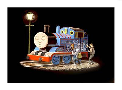"BANKSY Thomas the Tank Engine getting Tagged *FRAMED* CANVAS ART 18x12"" -"