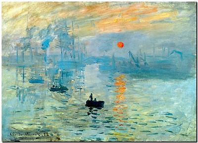 CLAUDE MONET ~ Impression of the Sunrise *FRAMED* CANVAS PRINT Poster 24x16""