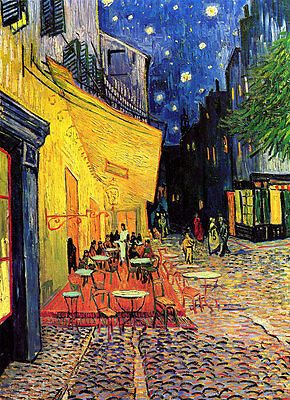 VAN GOGH - Cafe Terrace at Night - *FRAMED* CANVAS ART - 24x16""