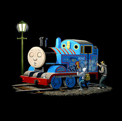 "BANKSY Thomas Tank Engine Tagged *FRAMED* CANVAS PRINT Graffiti Art 20""x 20"""
