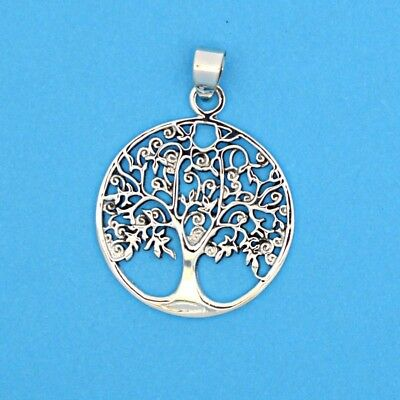 Birds in Tree of Life Lovely Solid 925 Silver Pendant~Wicca~Myth~Pagan Jewellery