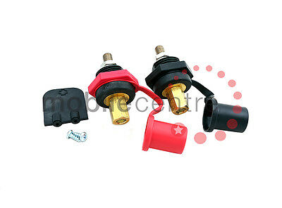 Pair of Remote battery connectors rated at 350A M10 Black and Red