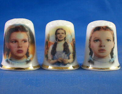 Fine Porcelain China Thimbles - Set Of Three Dorothy Gale Wizard Of Oz