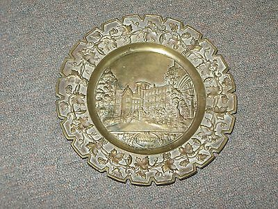 Antique Bronze Plate Castle Scene Grapes Leaves Border Wall Plaque Foundry Mark