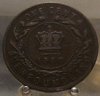 1880 Round/Low O Canada Newfoundland Bronze 1 Cent, Old Bronze World Coin