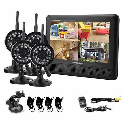 """Wireless 4CH Quad DVR 4 Cameras with 7"""" TFT LCD Monitor Home Security System US"""