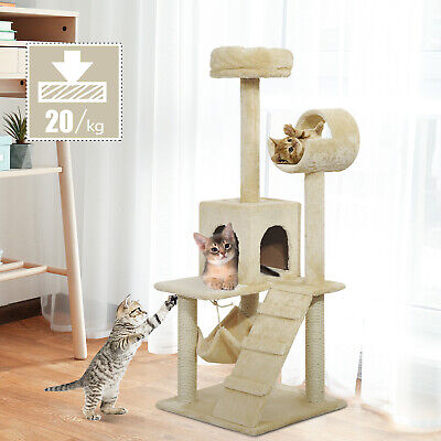 "52"" Cat Scratching Tree Tower Condo Pet Bed Kitten House Play Center w/ Hammock"