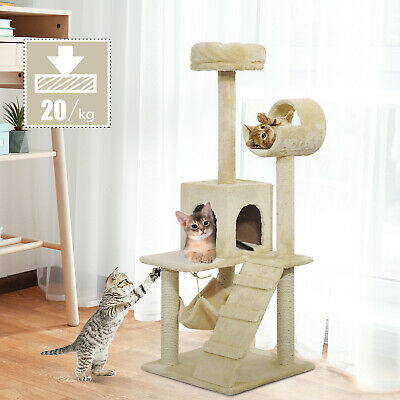 "Pawhut Deluxe 52"" Cat Tree Tower Condo Scratcher Furniture Kitten House Hammock"