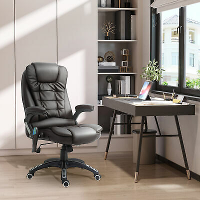 HOMCOM Heated Vibrating Massage Office Chair Swivel Executive Leather Chair BN