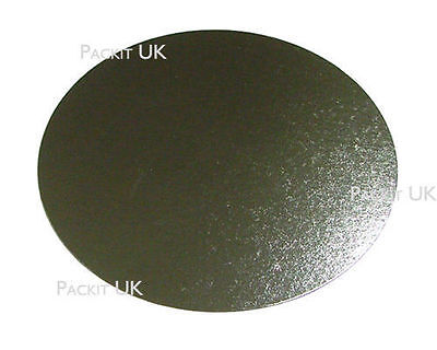 """10 x 6"""" Inch Round Silver Cake Board 3mm DOUBLE THICK"""