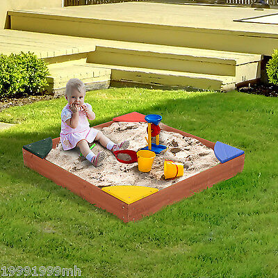 Qaba Wooden Kids Children Play Sandbox with Cover 4 Seats Sand Pit Outdoor Beach
