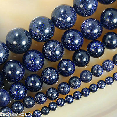 Wholesale Natural Blue Sand Spot Round Gemstone Loose Spacer Beads Stone 4-12MM